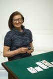 Cartes de jeu aînées de femme Photo libre de droits