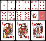 Cartões de jogo clássicos - corações Imagens de Stock