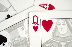 Cartões de jogo perto acima Fotografia de Stock