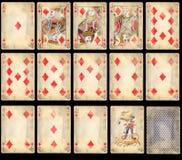 Cartões de jogo velhos do póquer - diamantes Imagens de Stock Royalty Free