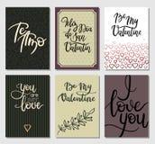 Cartes de jour de valentines Inscription moderne romantique de calligraphie comprenant l'Espagnol Ensemble de cartes de voeux de  Image libre de droits
