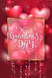 Cartes de jour de valentines avec les ballons à air en forme de coeur, le cadre d'or et le beau lettrage Illustration de vecteur Photo stock