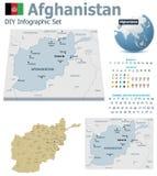 Cartes de l'Afghanistan avec des marqueurs Images libres de droits
