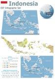 Cartes de l'Indonésie avec des marqueurs illustration de vecteur