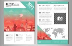Cartes de l'information de voyage Brochure de voyage et de tourisme avec les points de repère célèbres du monde Vecteur Photo stock