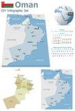 Cartes de l'Oman avec des marqueurs illustration de vecteur