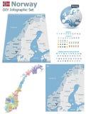 Cartes de la Norvège avec des marqueurs Photographie stock