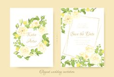Cartes de mariage élégantes de cru avec des roses illustration libre de droits