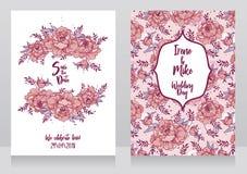 Cartes de mariage avec le cadre et le modèle de pivoines Photographie stock
