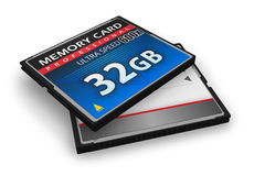 Cartes de mémoire à grande vitesse de CompactFlash Photographie stock