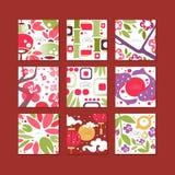 Cartes de modèle asiatiques traditionnelles, conception originale, illustrations colorées de vecteur de texture décorative de cal Illustration Libre de Droits