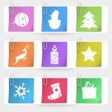 Cartes de Noël agrafées par couleur Images stock
