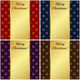 Cartes de Noël avec des bannières d'or. Illustration de vecteur. Photographie stock libre de droits