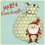 Cartes de Noël avec le dessin animé Santa Photo stock