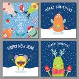 Cartes de Noël avec les monstres drôles mignons Photo stock