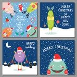 Cartes de Noël avec les monstres drôles mignons Photo libre de droits
