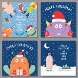 Cartes de Noël avec les monstres drôles mignons Photos libres de droits