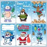 Cartes de Noël avec les personnalités drôles illustration de vecteur