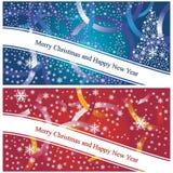 Cartes de Noël bleues et rouges illustration de vecteur