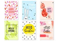 Cartes de Pâques tirées par la main, ensemble de vecteur Image libre de droits