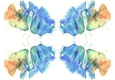Cartes de photo d'aquarelle d'essai de tache d'encre de rorschach abrégez le fond Peinture bleue, orange, jaune et verte Image libre de droits