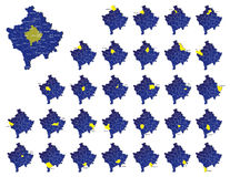 Cartes de provinces de Kosovo Images libres de droits