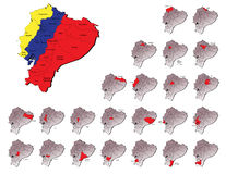 Cartes de provinces de l'Equateur Images stock