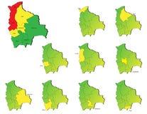 Cartes de provinces de la Bolivie Image libre de droits