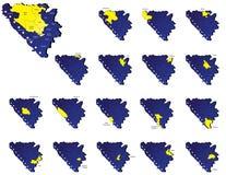 Cartes de provinces de la Bosnie-Herzégovine Photographie stock