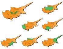Cartes de provinces de la Chypre Images stock