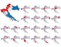 Cartes de provinces de la Croatie Photos libres de droits