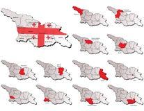 Cartes de provinces de la Géorgie Photo stock