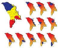 Cartes de provinces de la Moldavie Images stock