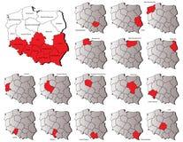 Cartes de provinces de la Pologne Image stock
