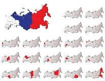 Cartes de provinces de la Russie Photographie stock libre de droits