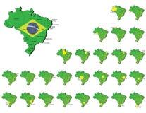 Cartes de provinces du Brésil Photographie stock libre de droits