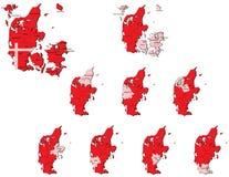 Cartes de provinces du Danemark Photos libres de droits