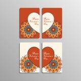 Cartes de Saint-Valentin avec le mandala Images stock