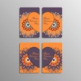 Cartes de Saint-Valentin avec le mandala Photographie stock libre de droits