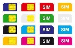 Cartes de sim de vecteur Photos libres de droits