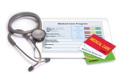 Cartes de soins médicaux et information personnelle de santé Photos stock