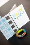 Cartes de souhait soutenues par bébé Photo stock