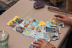Cartes de tarots du relevé Photographie stock libre de droits