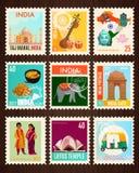 Cartes de timbre de voyage d'Inde illustration stock