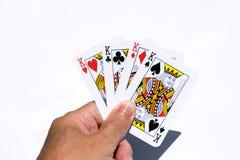 Cartes de tisonnier sur les milieux blancs Quatre rois disponibles Images libres de droits