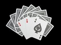 Cartes de tisonnier, trois as Photo stock
