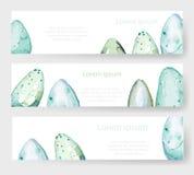Cartes de vacances de Pâques d'aquarelle, étiquettes, bannières réglées Vecteur Photo libre de droits