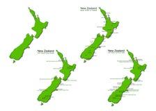 Cartes de vecteur de tourisme de la Nouvelle Zélande réglées Photos stock