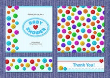 Cartes de vecteur pour la partie de fête de naissance avec des boutons Photographie stock