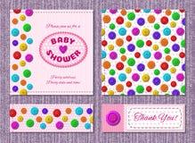 Cartes de vecteur pour la partie de fête de naissance avec des boutons Photos libres de droits